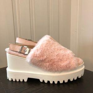 Wild Diva Pink Furry Platform Sandals